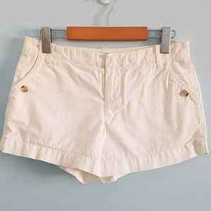 Old Navy midrise white shorts with button details